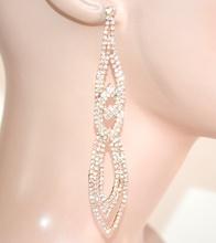 ORECCHINI donna cristalli ORO pendenti lunghi strass eleganti da cerimonia E123