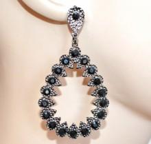 ORECCHINI donna grigio neri strass cristalli pendenti ovali martellati örhängen CC119