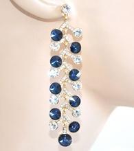 ORECCHINI donna ORO BLU eleganti pendenti damigella cristalli strass da cerimonia boucles E10