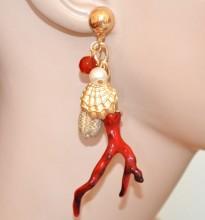 ORECCHINI donna oro dorati ciondolo corallo rosso pendenti conchiglia perla BB73