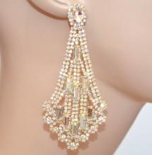ORECCHINI donna ORO dorati cristalli pendenti lunghi strass eleganti pendientes earrings BB62