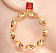 ORECCHINI donna ORO ROSSO cristallo cerchi pendenti ondulati Creolen gold hoops earrings CC225
