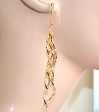 ORECCHINI donna pendenti lunghi oro ondulati intrecciati boucles earring A50