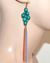 ORECCHINI donna ragazza fili pendenti pietre strass oro verde azzurro bijoux idea regalo F289