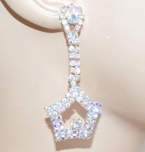 ORECCHINI donna strass argento boreale cristalli stelle pendenti regalo eleganti F245