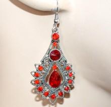 ORECCHINI etnici argento tibetano strass cristalli rossi donna fiori pendenti lunghi gocce CC146