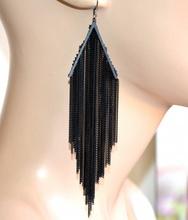 ORECCHINI neri fili pendenti lunghi donna elegante cerimonia moda feste boucles A7