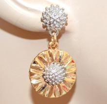 ORECCHINI ORO ARGENTO donna ciondolo girasole dorato pendenti earrings N53