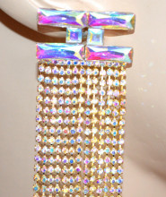 ORECCHINI ORO BOREALE donna cristalli multifili pendenti strass eleganti boreal gold earrings G52