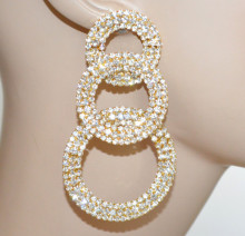 ORECCHINI ORO donna multi cerchi strass cristalli trasparenti pendenti cerimonia N26