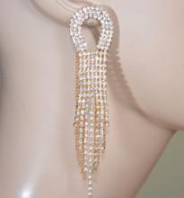 ORECCHINI ORO donna STRASS fili lunghi pendenti cristalli ovali gold earrings серьги D5