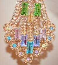 ORECCHINI ORO ROSA donna oro cristalli pendenti lunghi strass multicolore BB62