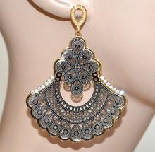 ORECCHINI pendenti argento oro strass donna traforati dark gothic eleganti party A43