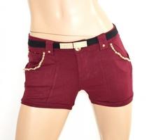 PANTALONE SHORTS donna ROSSO AMARANTO pantaloncino corto sexy oro cotone cintura perle F10