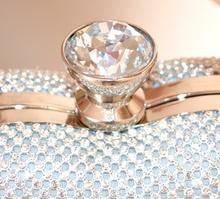 POCHETTE ARGENTO donna CUORI clutch borsello cristalli borsa strass sposa E95