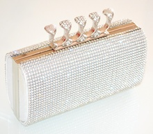 POCHETTE ARGENTO elegante BORSELLO donna STRASS da cerimonia CRISTALLI clutch bag party 5N