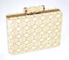 POCHETTE BEIGE ORO donna  pizzo ricamato clutch borsello borsa elegante E93