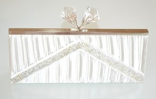 POCHETTE BIANCA donna borsello  raso strass  borsa cerimonia  cristalli elegante E140