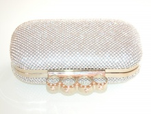 POCHETTE donna ARGENTO STRASS borsello sposa cristalli borsa clutch elegante cerimonia L10