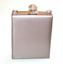 POCHETTE GRIGIO ARGENTO borsello borsa donna elegante borsetta cristallo clutch F10