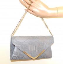 POCHETTE PIZZO ARGENTO borsello borsa donna ricamata clutch bag borsetta elegante G55