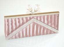 POCHETTE ROSA borsello borsa donna raso strass cristalli elegante damigella E140