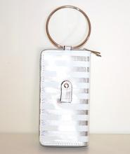PORTAFOGLIO BIANCO ARGENTO borsello donna pochette clutch portamonete vernice portfel G30
