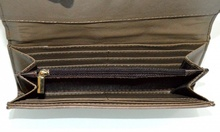 PORTAFOGLIO MARRONE donna portamonete borsello a mano eco pelle vernice clutch G3