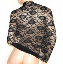 SCIALLE STOLA NERA PIZZO foulard 30% SETA ricamato donna coprispalle abito cerimonia G30