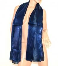 SCIARPA donna maxi foulard BLU pashmina metallizzata tinta unita sciarpetta scarf 15