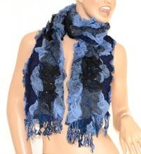 SCIARPA donna NERO BLU AZZURRO scaldacollo frange écharpe scarf pashmina шарф scarf schal bufanda 30