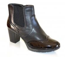 STIVALI donna NERI tronchetti scarpe calzata comoda tacco alto pelle vernice F5X