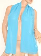 STOLA AZZURRO CELESTE foulard donna coprispalle cerimonia seta tinta unita elegante velata x vestito da sera 105P