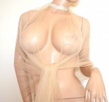 STOLA BEIGE CHAMPAGNE donna foulard coprispalle tulle velato sciarpa scialle trasparente argento G75