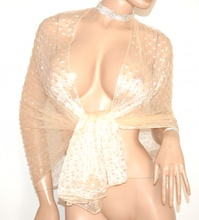 STOLA BEIGE foulard donna maxi coprispalle velata scialle elegante abito cerimonia A20