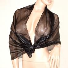STOLA coprispalle foulard MAXI cerimonia donna nero sciarpa elegante metallizzato x abito vestito da sera 135G