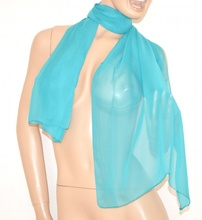 STOLA donna 100% SETA CHIFFON foulard velato AZZURRO coprispalle scialle elegante da cerimonia 18N