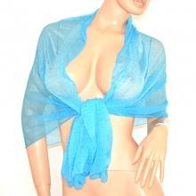 STOLA donna foulard COPRISPALLE da cerimonia azzurro tinta unita sciarpa elegante 155L