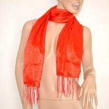 STOLA donna FOULARD ROSSO Cerimonia sciarpa COPRISPALLE da sera frangia elegante 500R