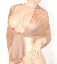 STOLA donna maxi foulard BEIGE SAFARI da cerimonia elegante COPRISPALLE matrimonio shimmers SETA velata 60X