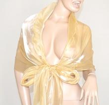 STOLA donna ORO BEIGE CERIMONIA foulard MAXI coprispalle elegante x abito\vestito metallizzata