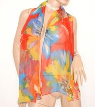 STOLA donna ROSSO GIALLO AZZURRO foulard SETA COPRISPALLE elegante da cerimonia   5N