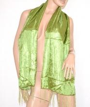 STOLA donna Verde Elegante FOULARD Coprispalle DA CERIMONIA Sciarpa seta 500F