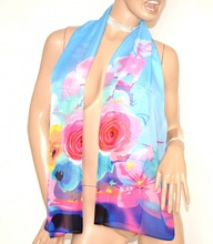 STOLA foulard coprispalle donna 40% seta azzurro blu rosa velata cerimonia elegante  A18
