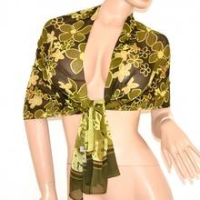 STOLA foulard verde donna coprispalle cerimonia sciarpa  x vestito elegante velato da sera floreale fantasia  125F