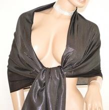 STOLA MAXI donna NERA scialle elegante foulard coprispalle abito da sera cerimonia S3