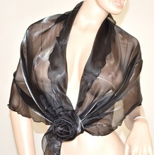 STOLA NERA MAXI foulard CERIMONIA foulard elegante coprispalle abito vestito metallizzata F5