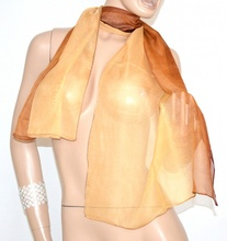 STOLA ORO BRONZO MARRONE foulard donna SETA coprispalle cerimonia elegante velato scarf 20X