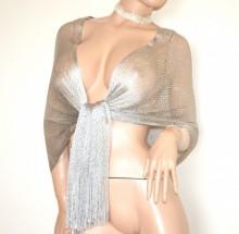 STOLA RETE donna ARGENTO filo maxi foulard coprispalle scialle frange cerimonia elegante scarf G68