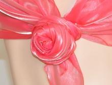 STOLA ROSA CORALLO donna CERIMONIA foulard MAXI coprispalle elegante x abito\vestito da sera F5